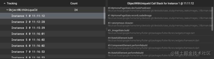Flutter DevTools memory tab allocation stack trace