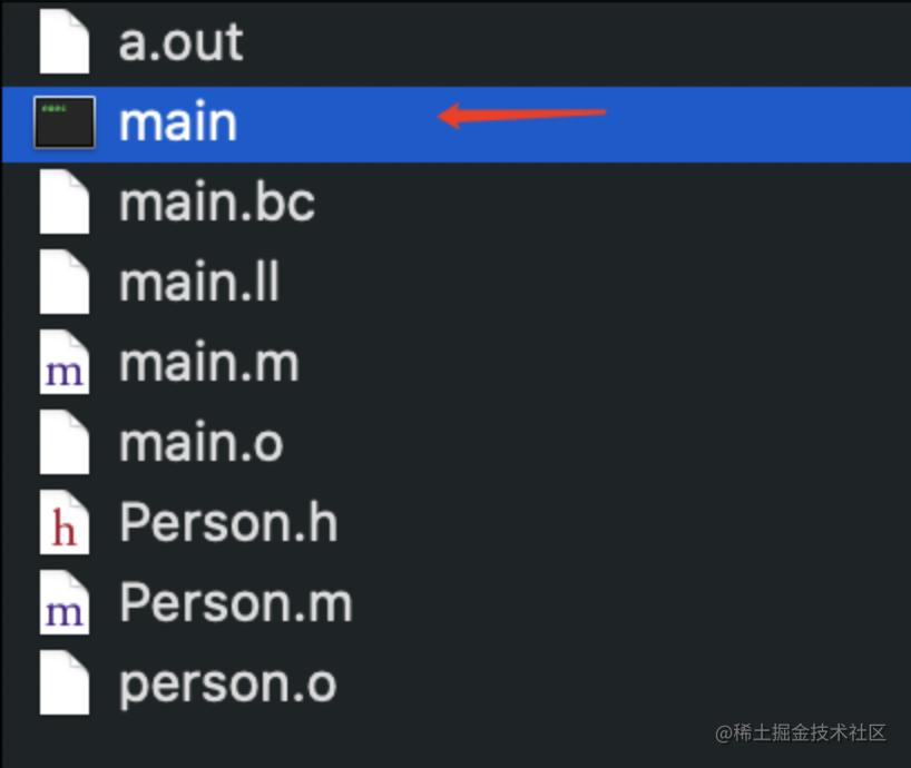 输出的可执行文件