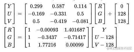 RGB to YUV 的转换公式