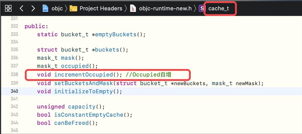 cache_t中的incrementOccupied方法