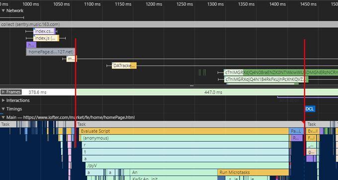 红线之间的部分为资源加载完成,执行页面渲染的阶段