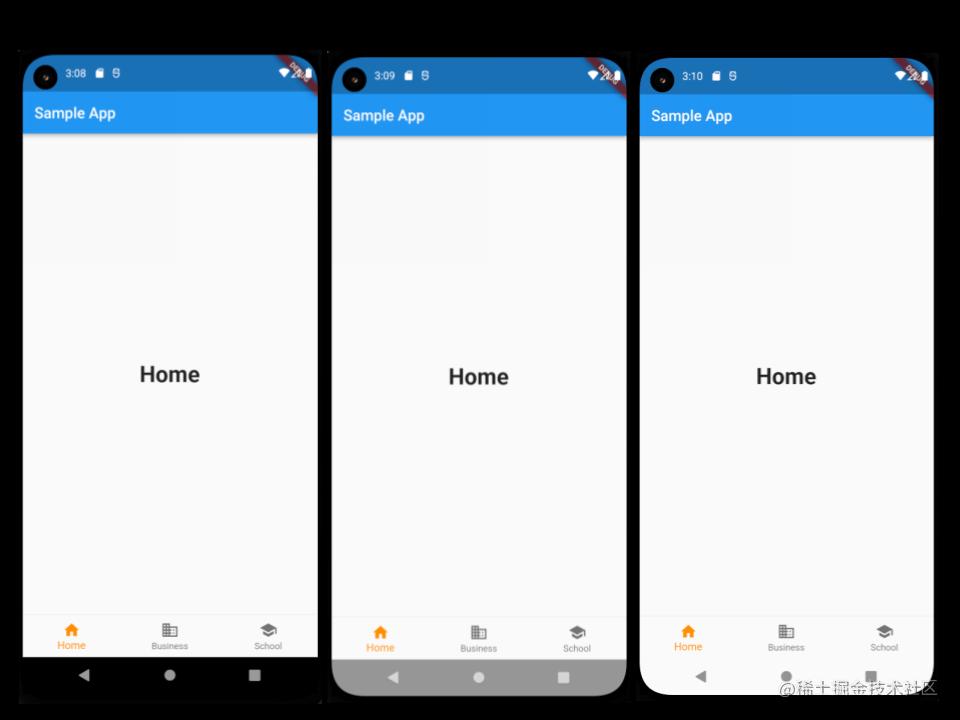 新的 Android 边到边模式:正常模式 (左),边到边模式 (中),带有自定义 SystemUIOverlayStyle 的边到边 (右)