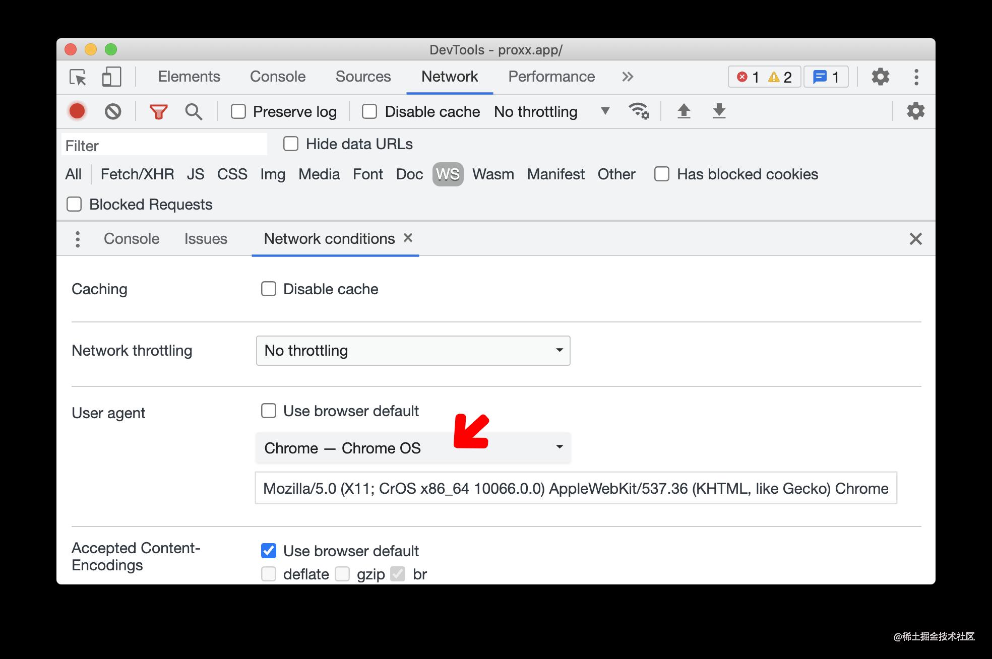 Network 状态面板新增提示用户代理端设备选项