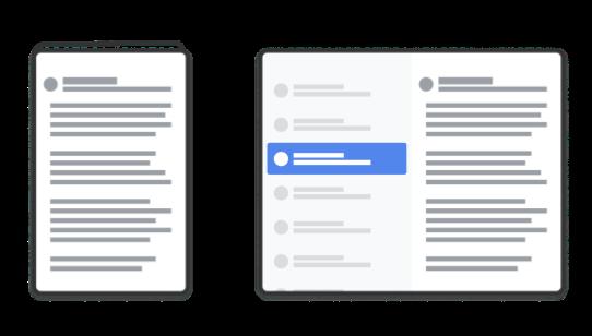 △ SlidingPaneLayout 会自动适应配置的变化,在不同的布局尺寸下提供良好的用户体验