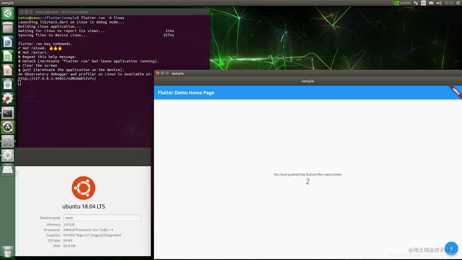 Your favorite Flutter app running on an ARM64 Linux machine
