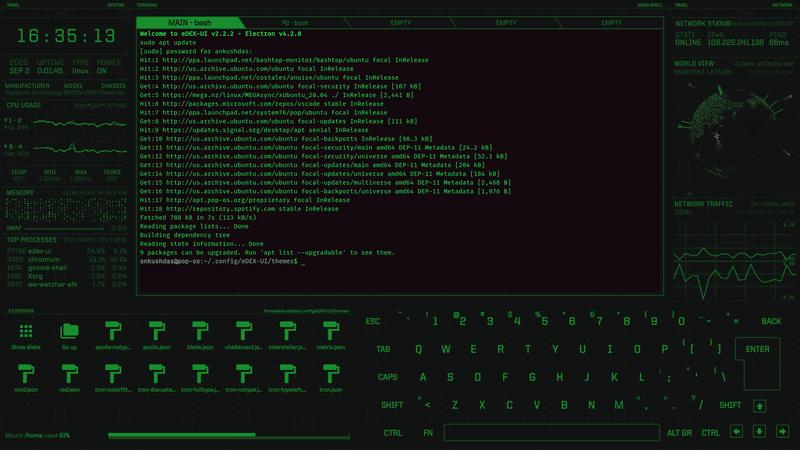 eDEX-UI with Matrix theme