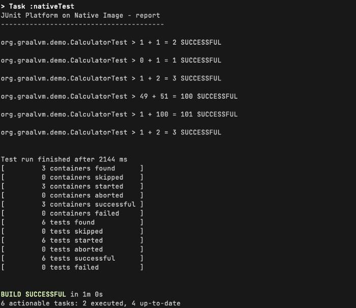 在 native image 模式下运行JUnit测试时的Gradle输出示例。