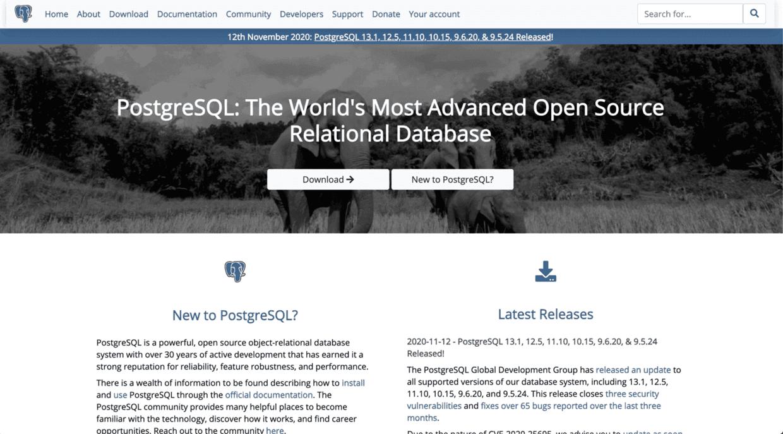 PostgreSQL 官网截图